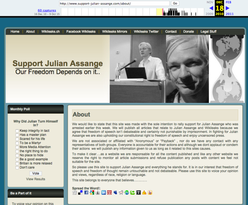 http://web.archive.org/web/20101218003627/http://www.support-julian-assange.com/about/ http://archive.is/myNqS