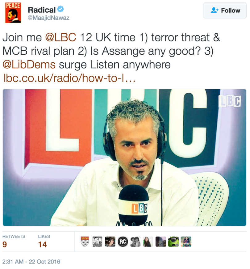 https://twitter.com/MaajidNawaz/status/78976116771141222 archived here: http://archive.is/qYmDn